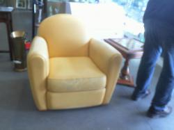 Fauteuil club cuir jaune